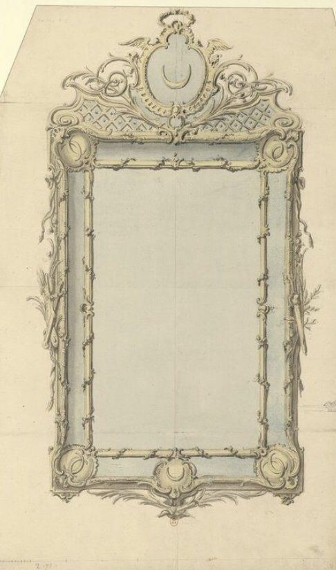 vintage mirror drawing. mirror design vintage drawing