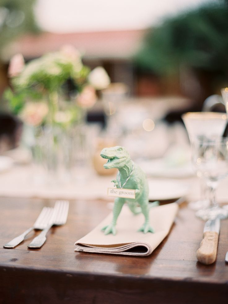 Wedding Place Setting with Animals | photography by http://brushfirephotography.com/ / T Rex. Dinosaur wedding detail.