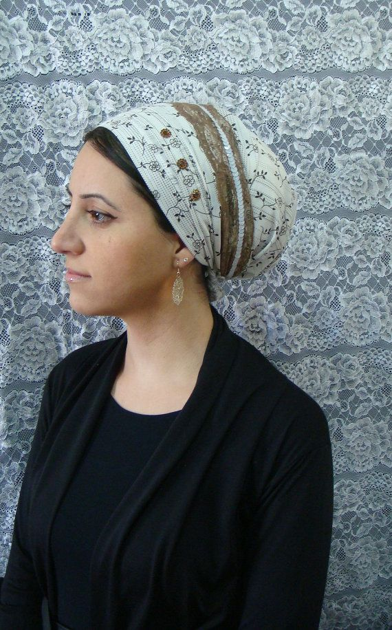 floral tichel headscarf white sequins hair coverings snood. $26.69, via Etsy.