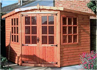 The beautiful Whytewell Summerhouse is five sided to fit snugly in the corner of your garden. Available to order form Adrian Hall Garden Centres, Feltham