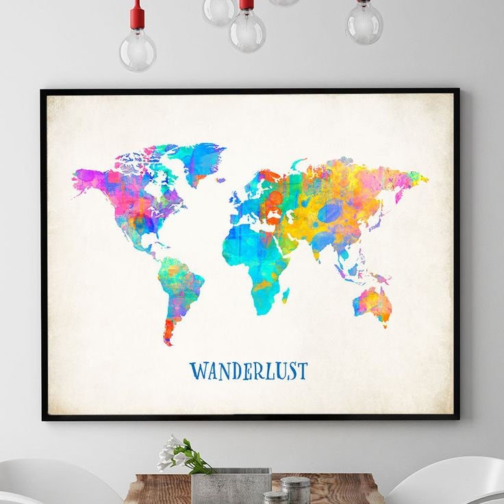 Wanderlust World Map Print, World Map Wall Art, Nursery Decor, Colourful World Map Art, Kids Bedroom Decor, Home Decor (702) by PointDot on Etsy