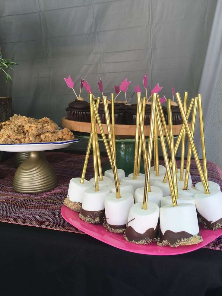 S'mores pops at a glamping birthday party! See more party ideas at CatchMyParty.com!