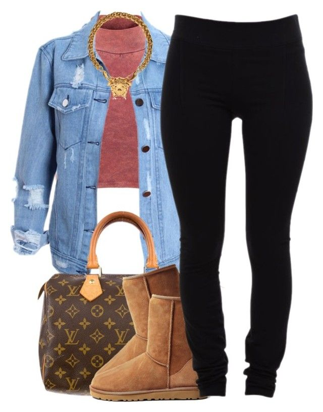 """""""nov. 27 2k14"""" by xo-beauty ❤ liked on Polyvore featuring moda, Influence, Louis Vuitton, UGG Australia, Helmut Lang y Versace"""