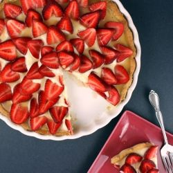 Strawberry Bourbon Mascarpone Tart with Bourbon Caramel Sauce