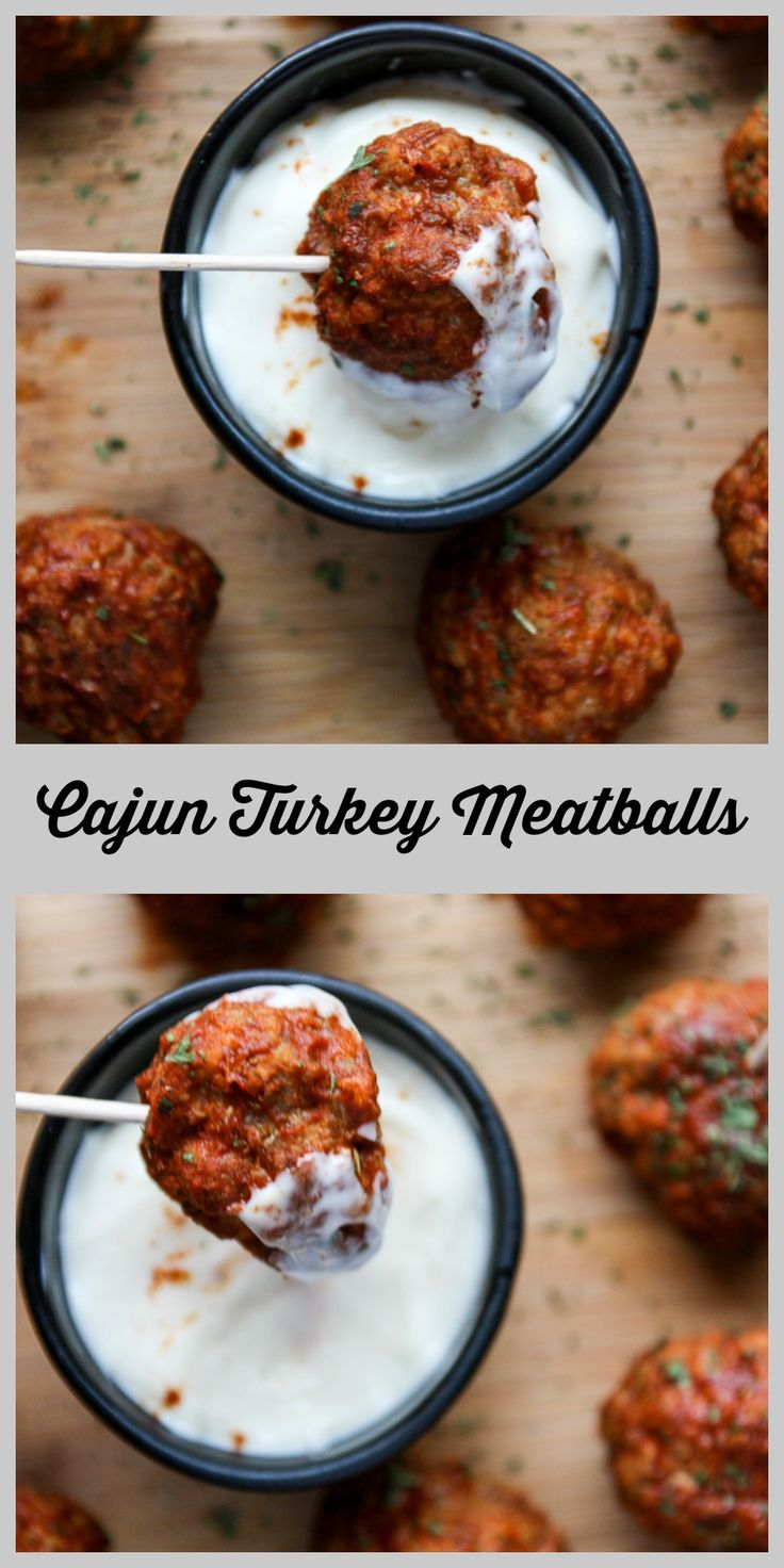 Cajun spiced meatballs with lean ground turkey and baked, not friend. So delicious served with a cooling ranch dip. Perfect party meatballs.