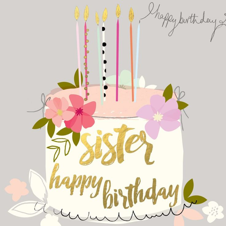 "Beautiful birthday card for sisters, featuring a birthday cake and caption: ""Happy Birthday Sister"""
