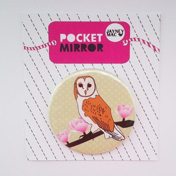 Owl Pocket Mirror Barn Owl with flowers mirror by JayneyMac