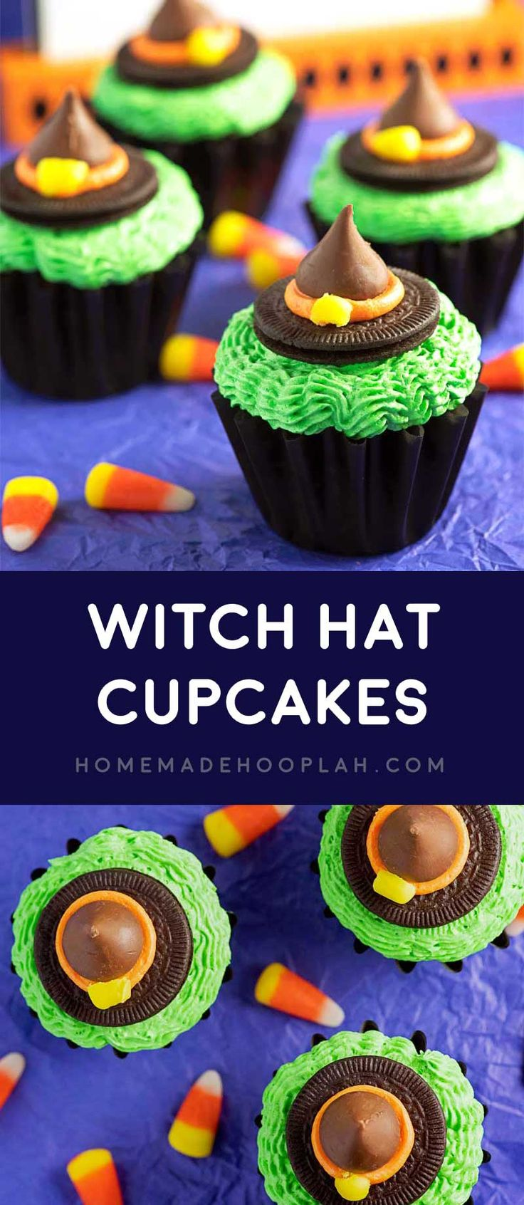 Witch Hat Cupcakes! A festive witchy treat that's easy to make! Made with chocolate cupcakes, colorful buttercream frosting, Oreo Thins, Hershey Kisses, and candy corn pieces.   HomemadeHooplah.com
