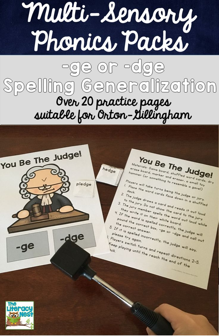 Multisensory phonics practice for the -ge and -dge spelling generalization. Works with Orton-Gillingham approach. #structuredliteracy