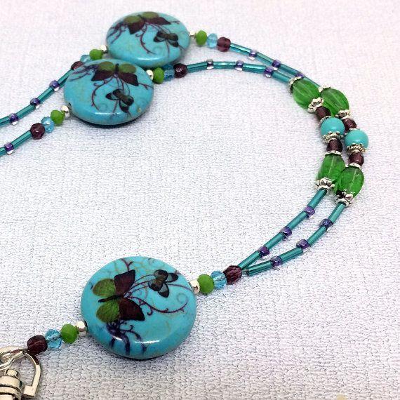 Beaded ID Badge Lanyard - Turquoise Blue Butterfly ontwerp-paars groen blauwe kralen