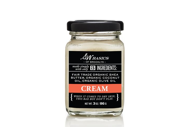 Cream from S.W. Basics - well-reviewed for both face and body - $32 for 3oz - just three ingredients: shea butter, coconut oil, olive oil