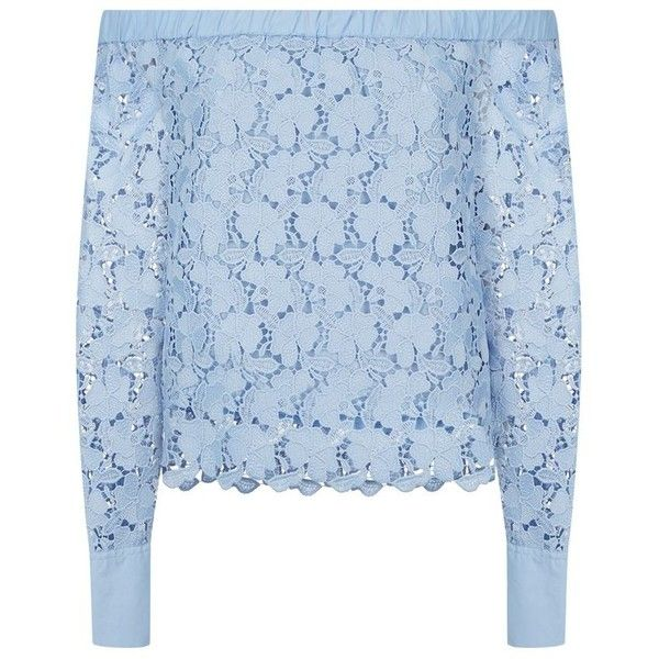 Robert Rodriguez Lace Off-The-Shoulder Top (2.655 RON) ❤ liked on Polyvore featuring tops, blouses, lace top, ruffle blouse, off the shoulder tops, blue floral blouse and floral blouse