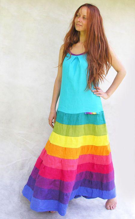 Купить радужное платье-сарафан - женское платье, летнее платье, летний сарафан, цветное