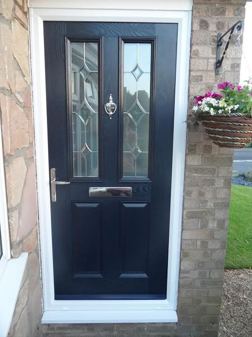 2 Panel 2 Square Crystal Diamond Composite Front Door in Blue