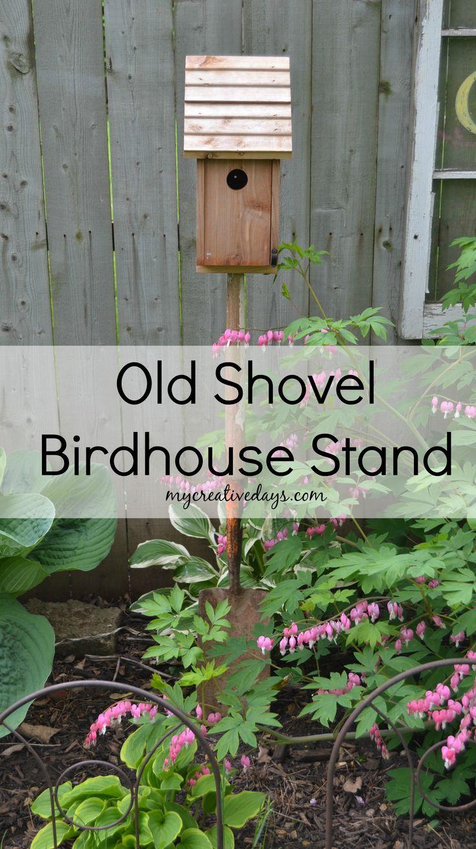 Old Shovel Birdhouse Stand mycreativedays.com