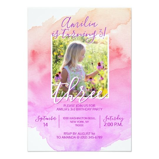 Watercolor Pink Purple Girl 3rd BIRTHDAY Party Invitation