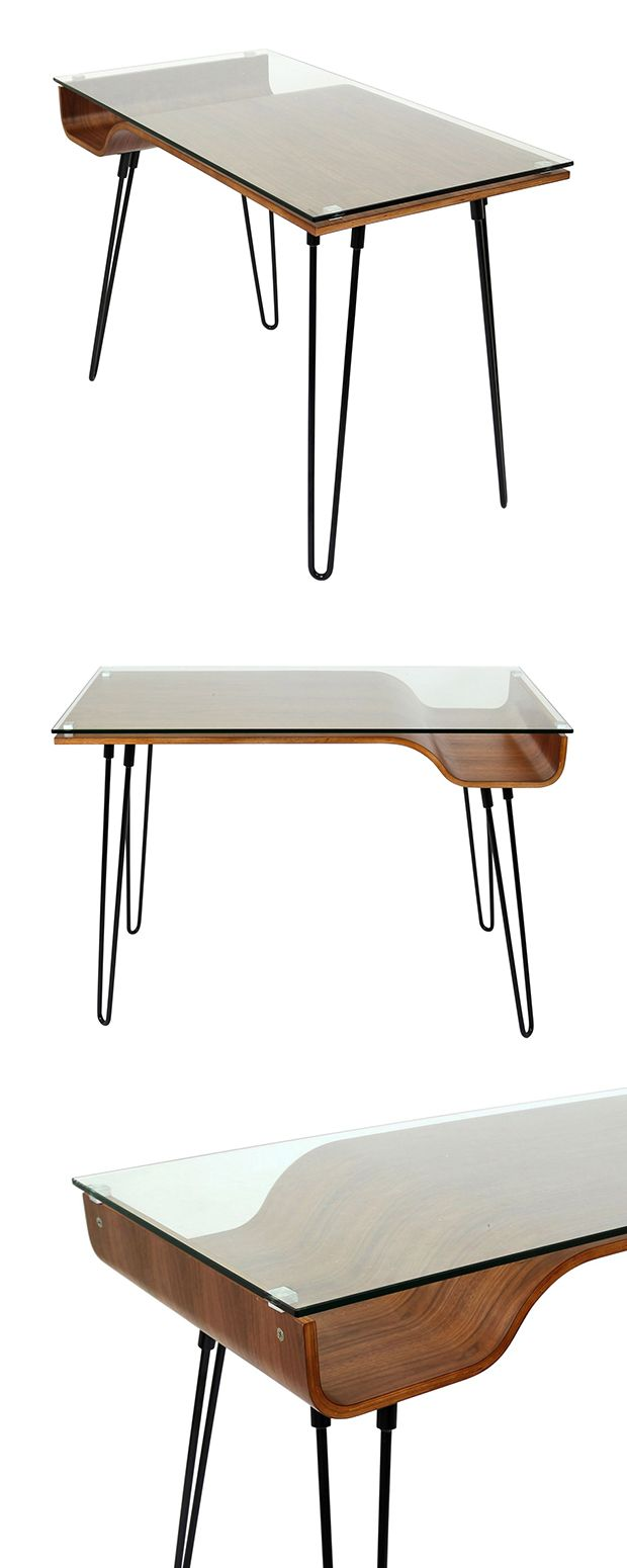 Simple and clean! #LuckOfThePin  We believe the desk should be a place of inspiration and that's certainly the case with this Collette Desk. A contemporary design with mid-century roots, this desk boasts a transparent glass top with a...  Find the Collette Desk, as seen in the Organized by Mid-Century Design Collection at http://dotandbo.com/collections/organized-by-mid-century-design?utm_source=pinterest&utm_medium=organic&db_sku=105898