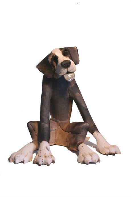 Title: Patchy Sitting Dog Description: Ceramic Sculpture Artist: Virginia Dowe