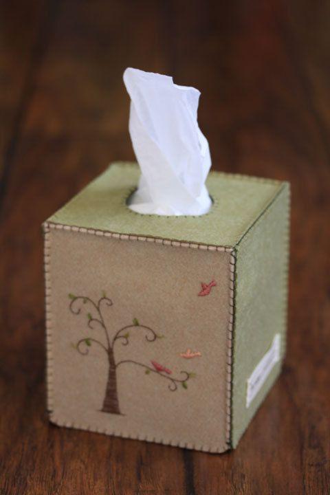 NIkkie's Felt Tree and Birds Tissue Box Cover by NikkiesNeedlework