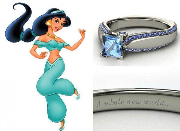 Com topázio azul m destaque e diamantes na lateral a aliança inspirada em Jasmine é uma graça!