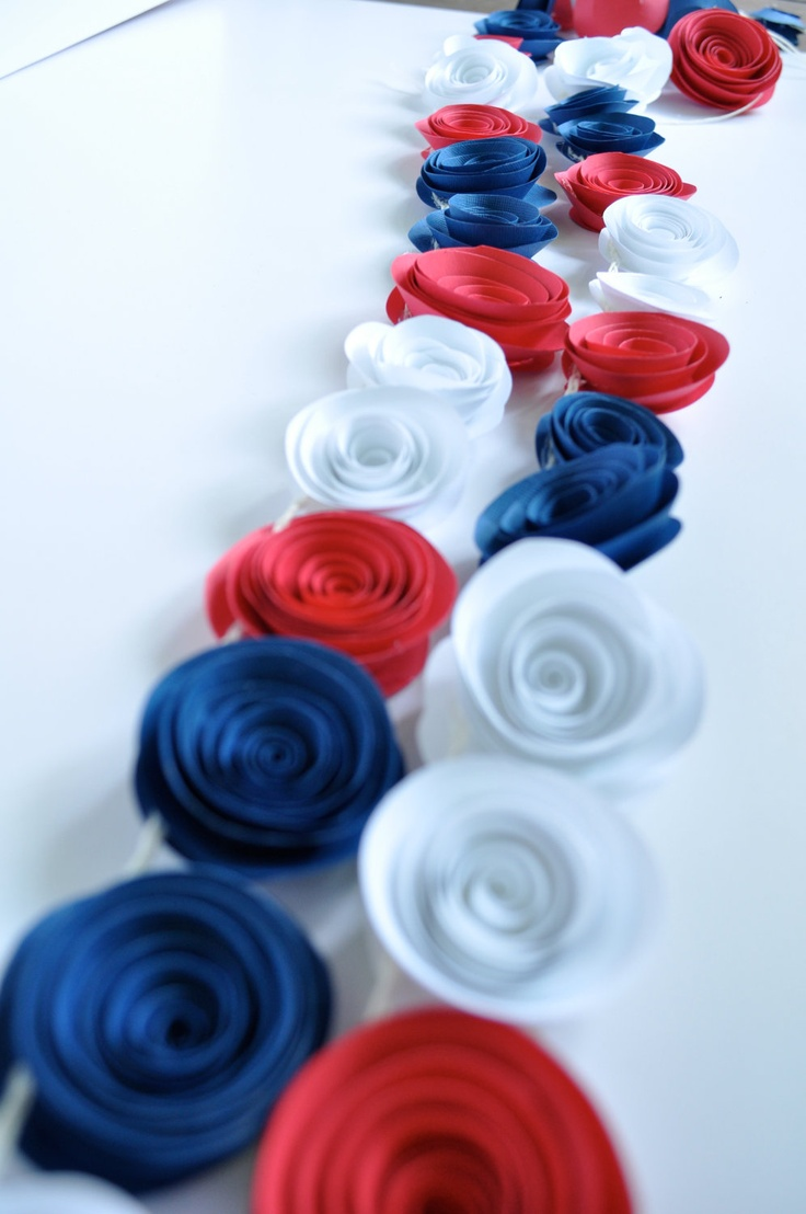 Patriotic Garland Red, White, Blue Garland, Fourth of July Decoration.