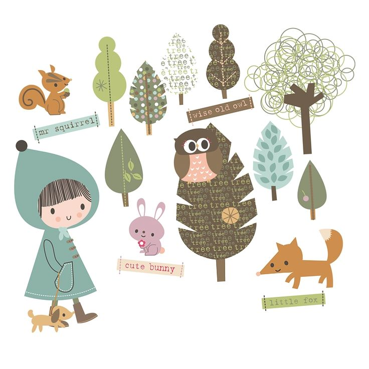 """Jillian Phillips for Chocovenyl, """"In the Woodland"""" fabric wall stickers"""