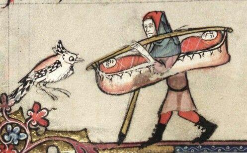 Medieval Childcare 1: Kids in a kayak (Oxf, Bodleian, Bodley 264, f. 133v)