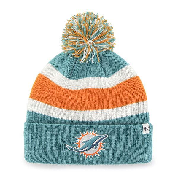 Miami Dolphins 47 Brand Tri-Tone Breakaway Knit Cuffed Beanie Poofball Hat Cap