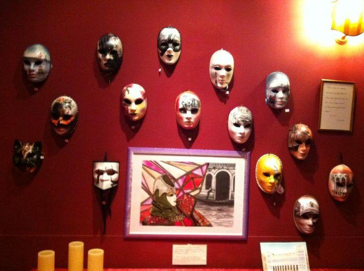 "My Venetian Artistic Masks and my drawing ""The Diamond Mask"" in exhibition at the ""San Gallo Theatre"" in Venice, ITALY.   #Venezia #Maschere #Venice #Masks #ArtisticMasks #VenetianMasks #Art #AcrilicPaintings #Carnival #JenniferEgista #HotelCasaPetrarca"
