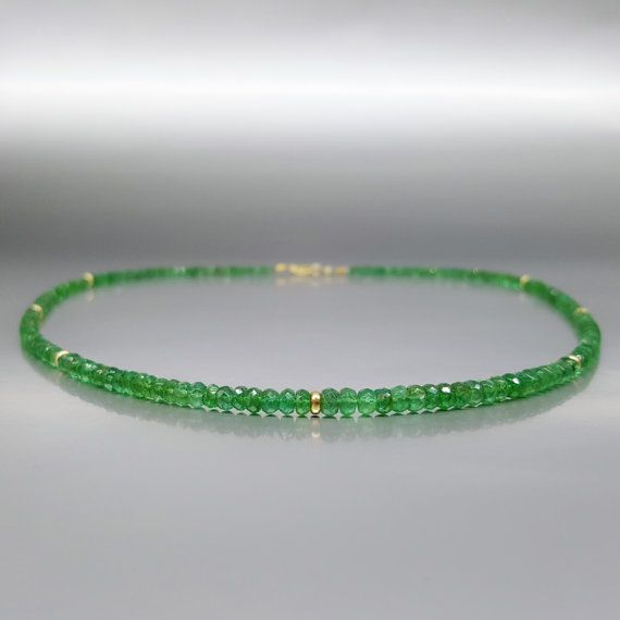 Elegant fine necklace Emerald with 14K gold elements and clasp - gift idea by gemorydesign. Explore more products on http://gemorydesign.etsy.com