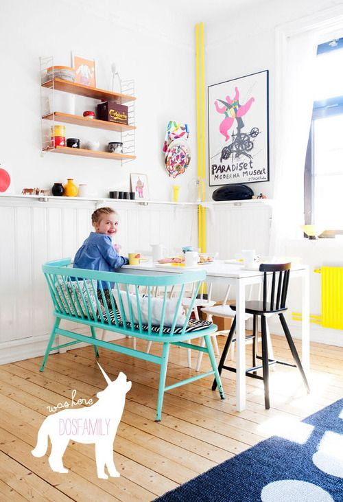 love this bench! Slender in style with arms and a back so my munchkins don't topple backwards. And the bright color is super fun.