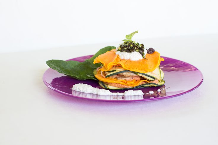 We absolutely love this dish, a raw vegan lasagna made with layers of pumpkin and all sorts of delicisiousness in between. It doesn't just look pretty, it is filling, healthy and made with the best locally sourced organic ingredients we can find or grow! RAW food at its best. This dish was created for Cala retreats as part of their detox programme.