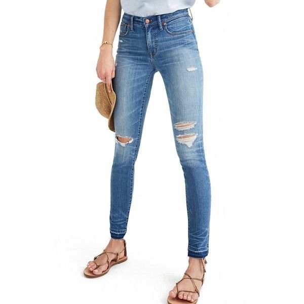 Women's Madewell High Rise Skinny Jeans ($135) ❤ liked on Polyvore featuring jeans, winifred wash, high rise skinny jeans, high waisted skinny jeans, distressed skinny jeans, ripped jeans and white high-waisted jeans