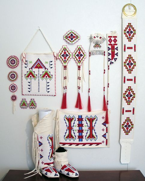 Ladies Northern Traditional Dance Set. This is a beautiful red/white/blue beadwork set!