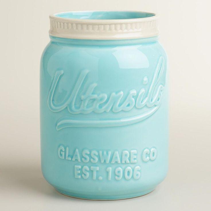 Kitchen Utensil Organizer Mason Jar Crock Ceramic Holder Storage Decor Country