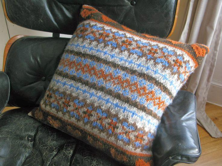 fairisle fair isle cushion knitting pattern