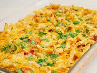 taco pasta casserole...OMG this was so good!  We crushed Doritos and sprinkled them on top.  Gave it that crunch.