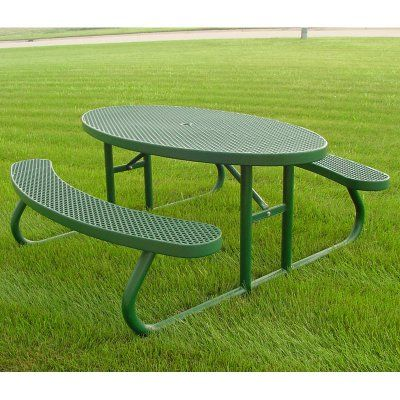 Outdoor Premier Polysteel Champion 6 ft. Oval Free Standing Commercial Picnic Table Gray - 956-301 GRAY