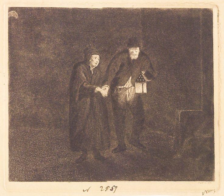"""Doi țărani într-o cameră întunecată, 1789-1797 (după Rembrandt), semnată dreapta jos: Rembrandt, nedatată. Imagine din colecțiile Bibliotecii """"V.A. Urechia"""" Galați."""