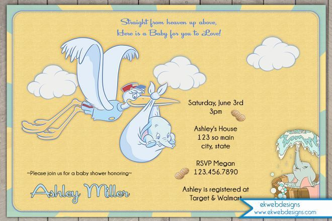 Dumbo Baby Shower Invitations- Dumbo Circus Invitation