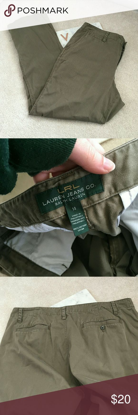 lauren ralph lauren womens 14 jeans co khaki green These work pants are the perfect khaki pants. They are comfortable and well made! They have a nice straight leg and have no flaws. Size 14. Ralph Lauren Pants Straight Leg