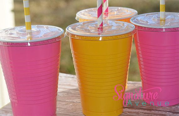 These are adorable! and less than a dollar a piece! Pink Lemonade Party CupsBirthday PartySet of 12 by SignatureAvenue, $11.40