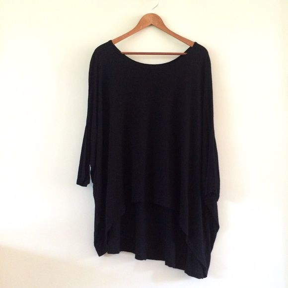 LF | Emma & Sam Black Batwing Top Oversized & flowy knit top. High low hem, batwing sleeves, wide off the shoulder neckline. Fits M/L best.    • no paypal • no trades • no offers please - prices are firm • ask questions before buying • smoke free home • 20% discount on bundles • LF Tops