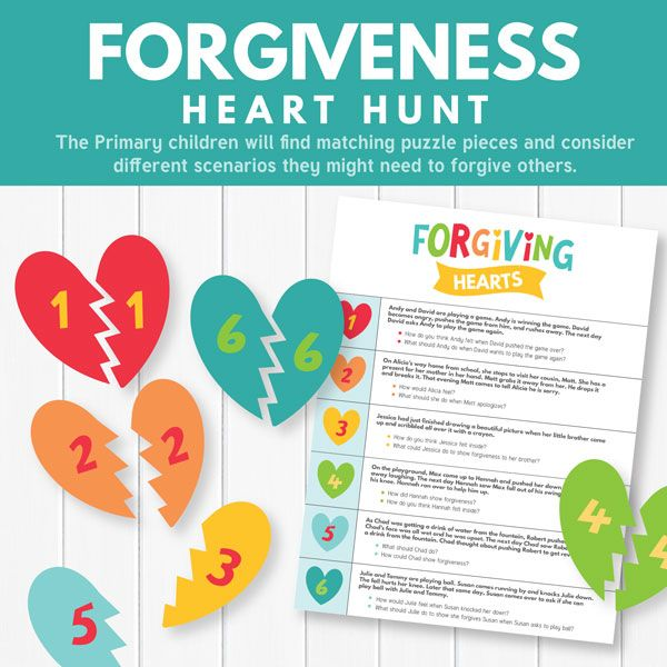 "Primary Games - ""Forgiveness Heart Hunt"" - Use this fun scavenger hunt to teach about forgiveness! (Primary 3 Lesson 23)"