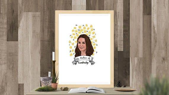 Duchess of Cambridge illustrated portrait digital download