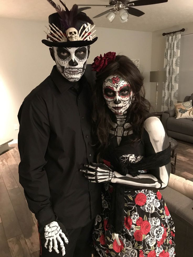 Day of dead Sugar skull halloween costume, Scary couples