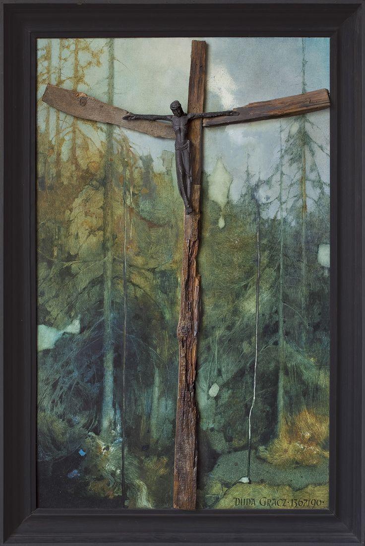 Jerzy Duda Gracz | Requiem for a forest -2- to Władysław Hasior,1990 | oil, board, wood, Christ figure, nails | 101 x 63 cm