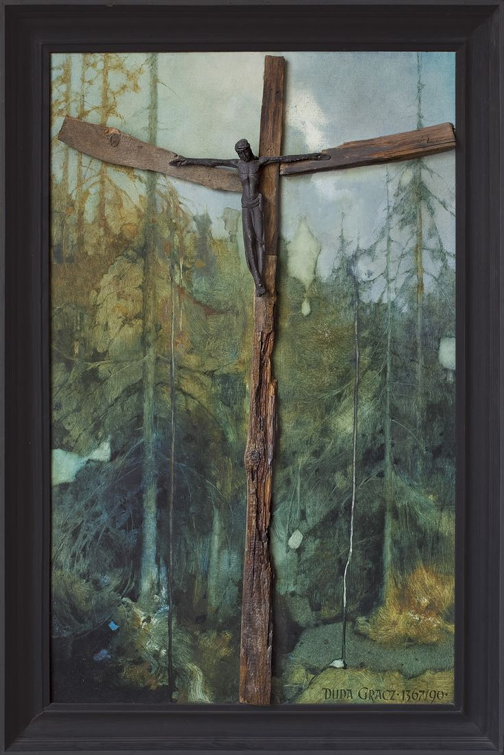 Jerzy Duda Gracz | Requiem for a forest -2- to Władysław Hasior,1990 | oil, board, wood, Christ figure, nails | 101 x 63 cm