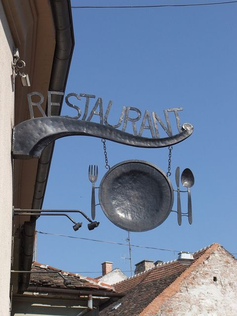 Old style restaurant sign in Sopron, Hungary