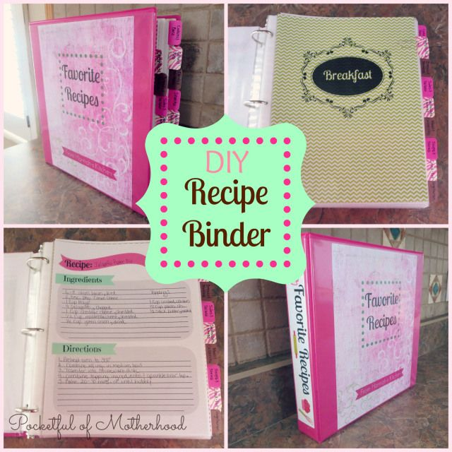 DIY Recipe Binder...great gift idea. See instructions here: http://pocketfulofmotherhood.wordpress.com/2014/03/25/diy-recipe-binder/